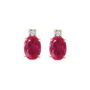 GOLD EARRINGS WITH RUBIES AND DIAMONDS - RUBY EARRINGS - EARRINGS