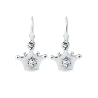 CHILDREN'S EARRINGS CROWN - WHITE GOLD EARRINGS - EARRINGS