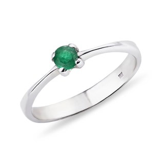 SILVER RING WITH EMERALD - STERLING SILVER FINE JEWELLERY - FINE JEWELLERY