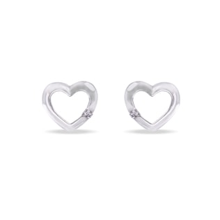 HEART EARRINGS IN 14KT GOLD - DIAMOND EARRINGS - EARRINGS