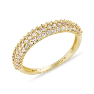 GOLD RING WITH CZ STONES - YELLOW GOLD RINGS - RINGS