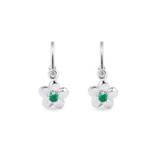 Children's emerald flower earrings in 14kt gold
