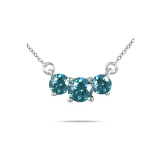 BLUE DIAMOND NECKLACE IN 14KT WHITE GOLD - DIAMOND PENDANTS - PENDANTS