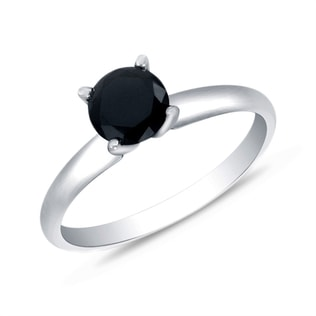 BLACK DIAMOND RING IN 14KT GOLD - WHITE GOLD RINGS - RINGS