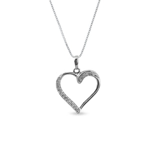 DIAMOND HEART PENDANT IN STERLING SILVER - HEART PENDANTS - PENDANTS