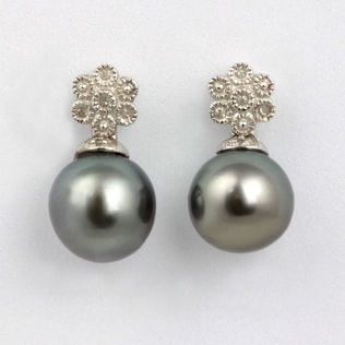 TAHITIAN PEARL NECKLACE IN STERLING SILVER - STERLING SILVER EARRINGS - EARRINGS