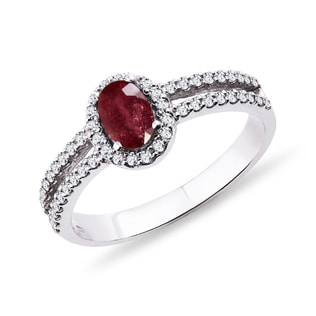 RUBY AND DIAMOND RING IN 14KT GOLD - ENGAGEMENT HALO RINGS - ENGAGEMENT RINGS
