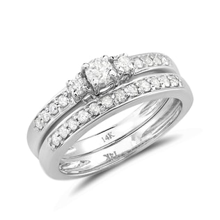 DIAMOND WEDDING AND ENGAGEMENT SET IN 14KT GOLD - WHITE GOLD RINGS - RINGS