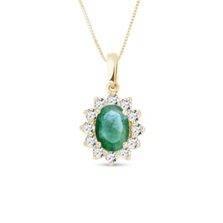 EMERALD PENDANT WITH DIAMONDS - EMERALD PENDANTS - PENDANTS