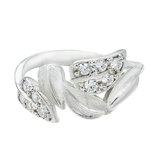 CZ LEAF RING IN STERLING SILVER - STERLING SILVER RINGS - RINGS