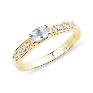 ANNIVERSARY GOLDEN RING WITH AQUAMARINE - AQUAMARINE RINGS - RINGS
