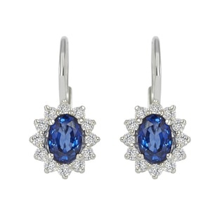 SAPPHIRE AND DIAMOND EARRINGS IN 18KT GOLD - SAPPHIRE EARRINGS - EARRINGS