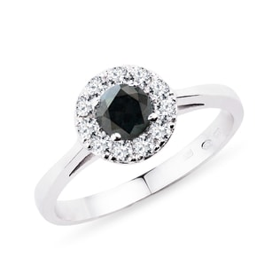 Black and white diamond ring in 14kt gold