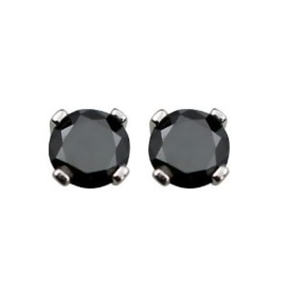 BLACK DIAMOND EARRINGS IN 14KT WHITE GOLD - STUD EARRINGS - EARRINGS