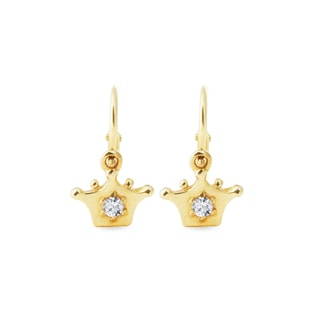 Diamond crown earrings for children in yellow gold