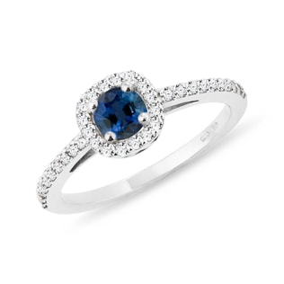 ENGAGEMENT RING WITH SAPPHIRE AND DIAMONDS - ENGAGEMENT HALO RINGS - ENGAGEMENT RINGS