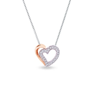 Two-tone diamond heart pendant in 14kt gold