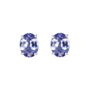 Tanzanite earrings in white gold