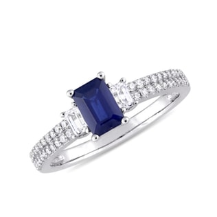 SAPPHIRE AND DIAMOND RING IN 14KT WHITE GOLD - ENGAGEMENT GEMSTONE RINGS - ENGAGEMENT RINGS