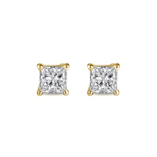 Princess-cut diamond earrings in 14kt gold