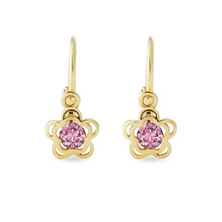 BABY CZ 14KT GOLD EARRINGS - CHILDREN'S EARRINGS - EARRINGS