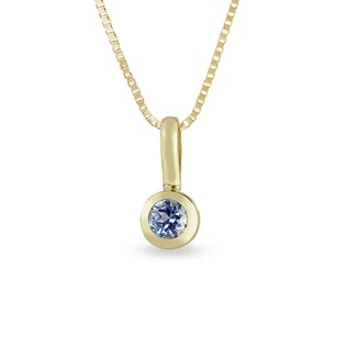 BLUE TOPAZ PENDANT FOR CHILDREN IN 14KT GOLD - GEMSTONE PENDANTS - PENDANTS