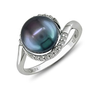 BLACK PEARL STERLING SILVER RING - PEARL RINGS - PEARL JEWELLERY