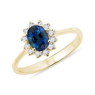 SAPPHIRE AND DIAMOND RING IN YELLOW GOLD - YELLOW GOLD RINGS - RINGS