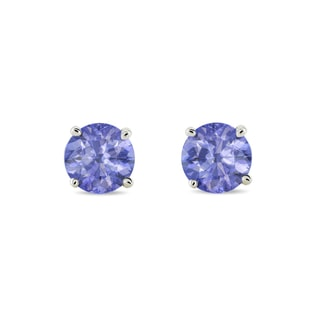 GOLD TANZANITE EARRINGS - WHITE GOLD EARRINGS - EARRINGS