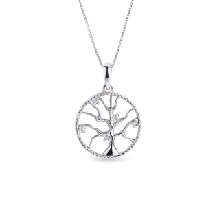 Diamond tree pendant in silver