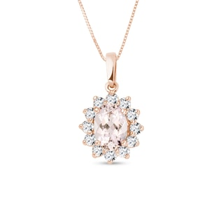 ROSE GOLD NECKLACE WITH MORGANITE AND DIAMONDS - GEMSTONE PENDANTS - PENDANTS