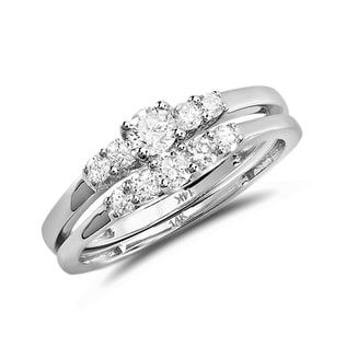WEDDING AND ENGAGEMENT RING SET IN 14KT WHITE GOLD - ENGAGEMENT AND WEDDING MATCHING SETS - ENGAGEMENT RINGS