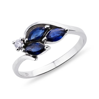 GOLD RING WITH SAPPHIRES AND DIAMONDS - SAPPHIRE RINGS - RINGS