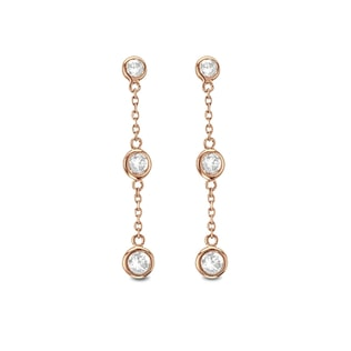 Diamond earrings in 14kt rose gold