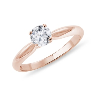 ROSE GOLD RING WITH DIAMOND - SOLITAIRE ENGAGEMENT RINGS - ENGAGEMENT RINGS