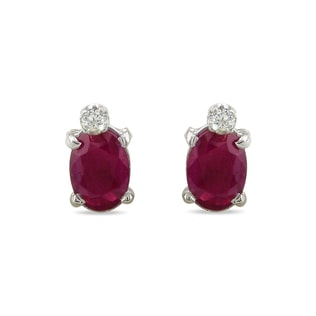 RUBY AND DIAMOND 14KT GOLD EARRINGS - RUBY EARRINGS - EARRINGS