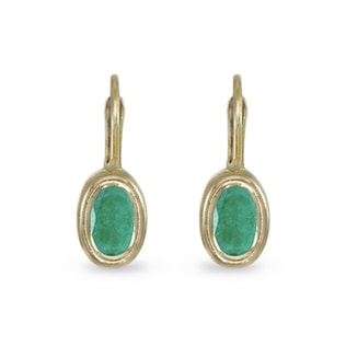 EMERALD 14KT GOLD EARRINGS - EMERALD EARRINGS - EARRINGS