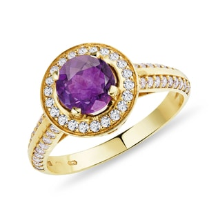 AMETHYST AND DIAMOND ENGAGEMENT RING - ENGAGEMENT HALO RINGS - ENGAGEMENT RINGS