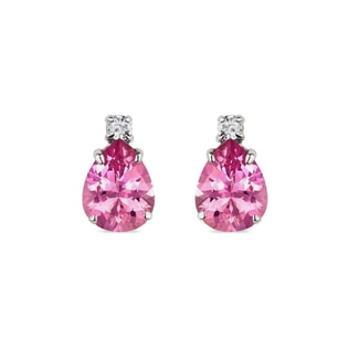 Tourmaline earrings with diamonds in white gold