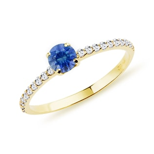 GOLD RING WITH DIAMONDS AND SAPPHIRE - DIAMOND RINGS - RINGS