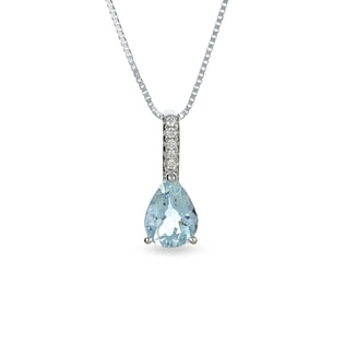 AQUAMARINE AND DIAMOND PENDANT IN 14KT WHITE GOLD - AQUAMARINE PENDANTS - PENDANTS