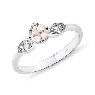SILVER MORGANITE RING WITH DIAMONDS - STERLING SILVER RINGS - RINGS
