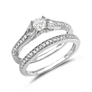 DIAMOND WEDDING AND ENGAGEMENT SET IN 14KT GOLD - ENGAGEMENT AND WEDDING MATCHING SETS - ENGAGEMENT RINGS