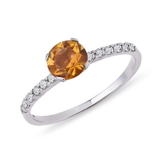 CITRINE AND CZ RING IN STERLING SILVER - CITRINE RINGS - RINGS