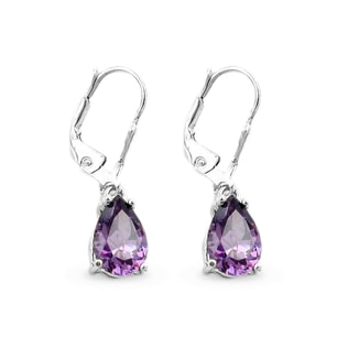 STERLING SILVER EARRINGS WITH AMETHYST - AMETHYST EARRINGS - EARRINGS
