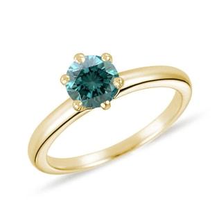 YELLOW GOLD RING WITH BLUE DIAMOND - FANCY DIAMOND ENGAGEMENT RINGS - ENGAGEMENT RINGS