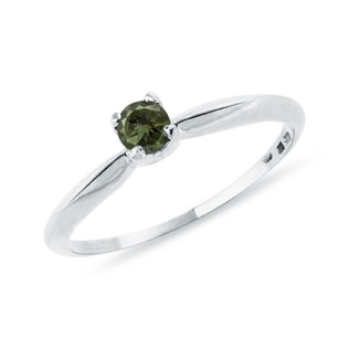 GOLD RING WITH MOLDAVITE - MOLDAVITE RINGS - RINGS