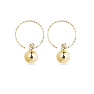 Minimalist orb hoop earrings in yellow gold