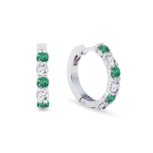 Earrings with emeralds and diamonds in white gold