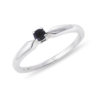 GOLD RING WITH BLACK DIAMOND - WHITE GOLD RINGS - RINGS